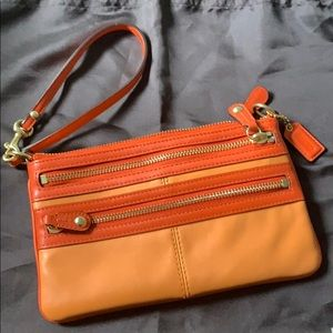"Coach ""Bonnie Cashin"" Large Leather Wristlet"